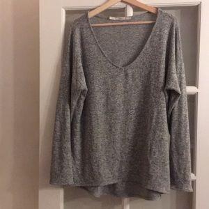 Gibson Heather Grey V-neck Sweater
